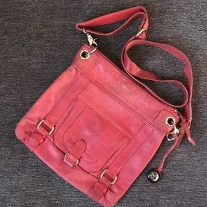 The Sak • red/coral distressed leather crossbody
